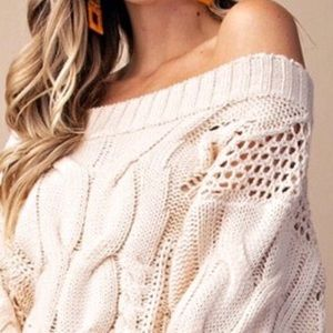 Sweaters - NEW! Puff Sleeve Off Shoulder Loose Knit Sweater